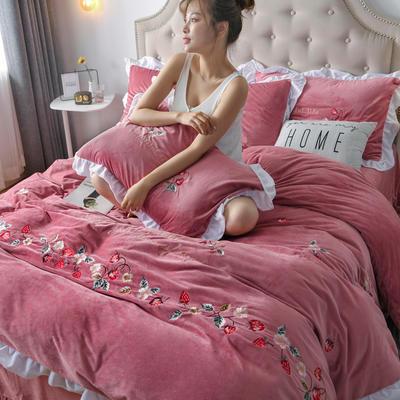 2019新款宝宝绒水晶绒牛奶绒电脑刺绣四件套(总) 1.5m床单款四件套 蜜恋-豆沙
