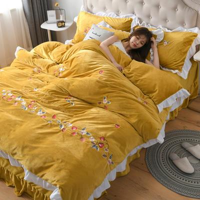 2019新款寶寶絨水晶絨牛奶絨電腦刺繡四件套(總) 1.5m床單款四件套 蜜戀--姜黃