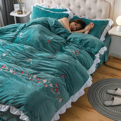2019新款寶寶絨水晶絨牛奶絨電腦刺繡四件套(總) 1.5m床單款四件套 蜜戀-綠色