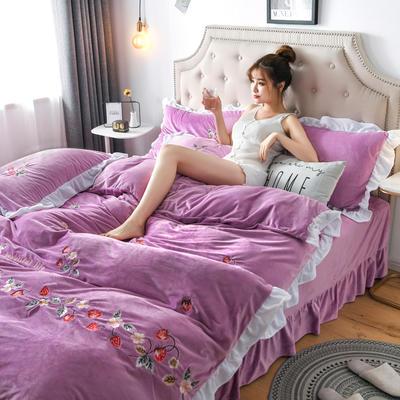 2019新款寶寶絨水晶絨牛奶絨電腦刺繡四件套(總) 1.5m床單款四件套 蜜戀-紫色