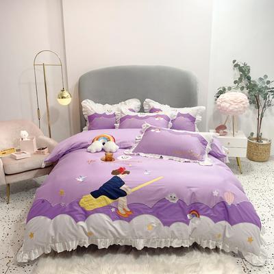 2020年新款60S长绒棉小魔女系列四件套 标准 小魔女-紫色