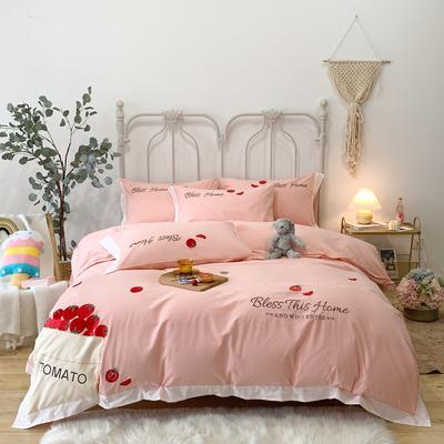 2020新款水洗棉刺绣贴布绣番茄系列四件套 加大 番茄-粉色