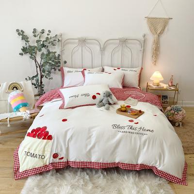 2020新款水洗棉刺绣贴布绣番茄系列四件套 标准 番茄-红格