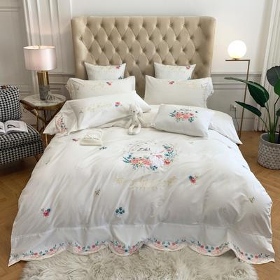 2020新款40S纯棉活性绣花四件套 1.5m床单款四件套 简-白