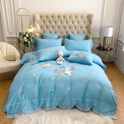 2020新款40S纯棉活性绣花四件套 1.5m床单款四件套 简-蓝