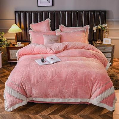 2020新款牛奶绒剪花系列四件套 1.8m床单款四件套 粉色
