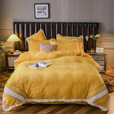 2020新款牛奶绒剪花系列四件套 1.8m床单款四件套 黄色