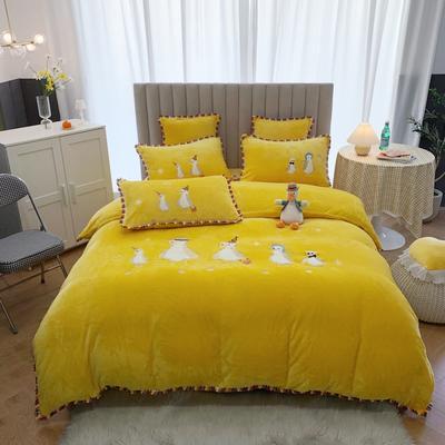 2020新款双面泰迪绒四件套--企鹅 1.5m床单款四件套 黄色
