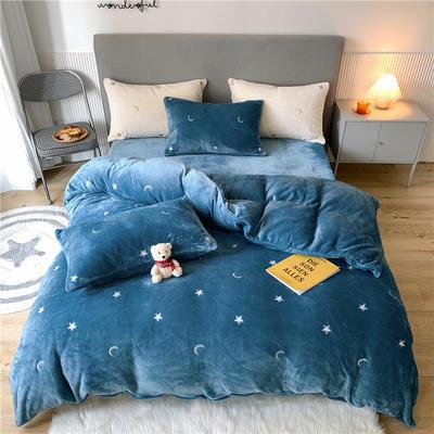 2020新款泰迪绒泰迪绒星辰系列四件套 1.5m床单款四件套 星辰-宝蓝