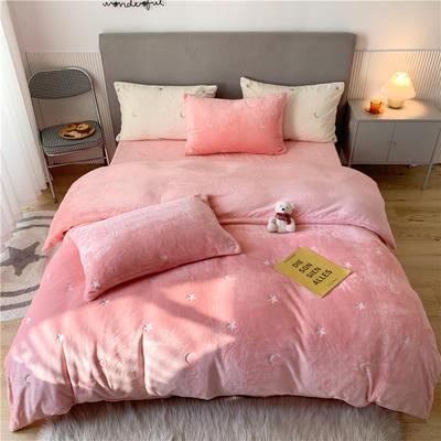 2020新款泰迪绒泰迪绒星辰系列四件套 1.5m床单款四件套 星辰-粉色
