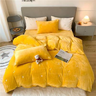 2020新款泰迪绒泰迪绒星辰系列四件套 1.5m床单款四件套 星辰-黄色
