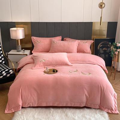 2020新款牛奶绒刺绣四件套-羽毛 1.5m床单款四件套 粉色