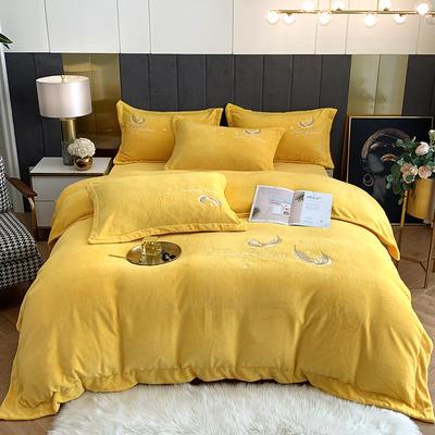 2020新款牛奶绒刺绣四件套-羽毛 1.5m床单款四件套 黄色