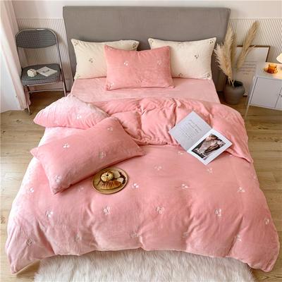 2020新款泰迪绒泰迪绒樱桃系列四件套 1.5m床单款四件套 粉色