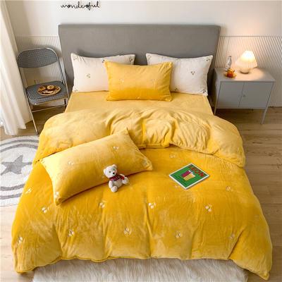 2020新款泰迪绒泰迪绒樱桃系列四件套 1.5m床单款四件套 黄色