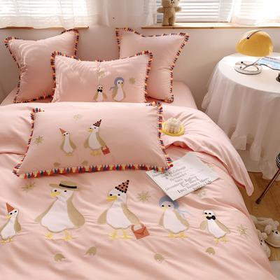 2021新款长绒棉牛奶绒四件套-企鹅 标准 企鹅粉色