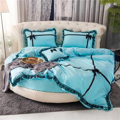 2021新款牛奶绒纯棉圆床系列四件套-遇见 直径2米2床笠四件套 天蓝