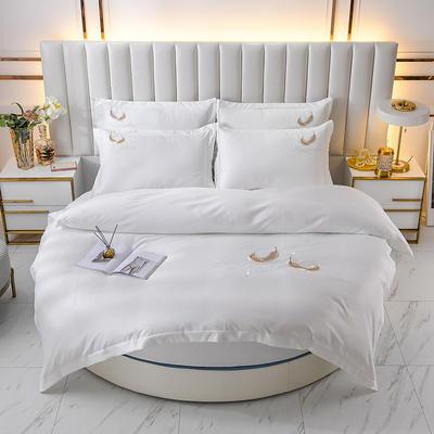 2021新款水洗真丝刺绣圆床系列四件套-羽毛 直径2米2床笠四件套 白色