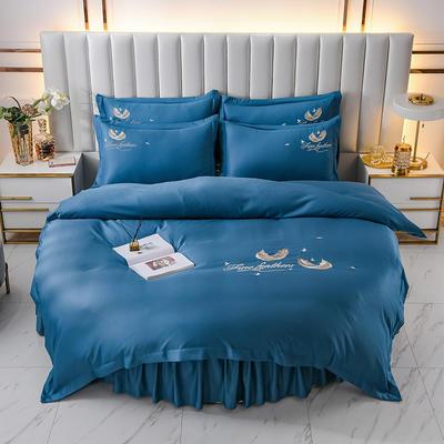 2021新款水洗真丝刺绣圆床系列四件套-羽毛 直径2米2床笠四件套 宝蓝