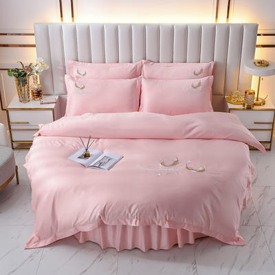 2021新款水洗真丝刺绣圆床系列四件套-羽毛 直径2米2床笠四件套 粉色