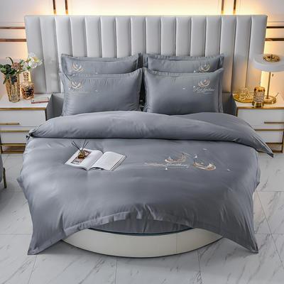 2021新款水洗真丝刺绣圆床系列四件套-羽毛 直径2米2床笠四件套 灰色