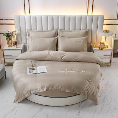 2021新款水洗真丝刺绣圆床系列四件套-羽毛 直径2米2床笠四件套 驼色