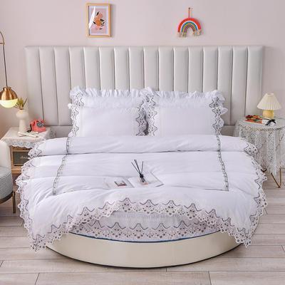 2021新款纯棉蕾丝牛奶绒圆床系列-奥娜 直径2米单层床笠(无蕾丝) 白