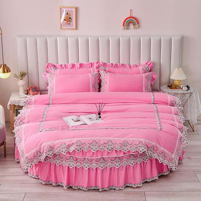 2021新款纯棉蕾丝牛奶绒圆床系列-奥娜 直径2米单层床笠(无蕾丝) 粉