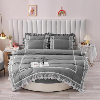 2021新款纯棉蕾丝牛奶绒圆床系列-奥娜 直径2米单层床笠(无蕾丝) 灰