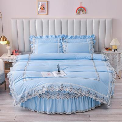 2021新款纯棉蕾丝牛奶绒圆床系列-奥娜 直径2米单层床笠(无蕾丝) 蓝