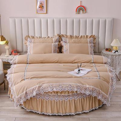 2021新款纯棉蕾丝牛奶绒圆床系列-奥娜 直径2米单层床笠(无蕾丝) 驼