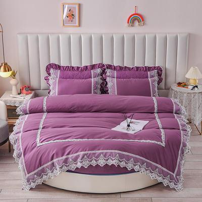 2021新款纯棉蕾丝牛奶绒圆床系列-奥娜 直径2米单层床笠(无蕾丝) 紫