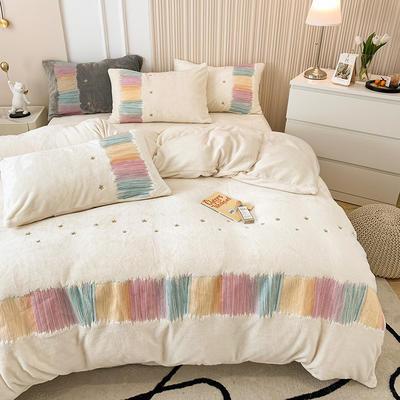 2021新款泰迪绒系列四件套-彩虹漾 1.8m床单款四件套 彩虹漾-白色
