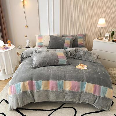 2021新款泰迪绒系列四件套-彩虹漾 1.8m床单款四件套 彩虹漾-灰色