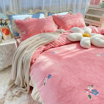 2021新款泰迪绒系列四件套-小花花 1.2m床单款三件套 粉色