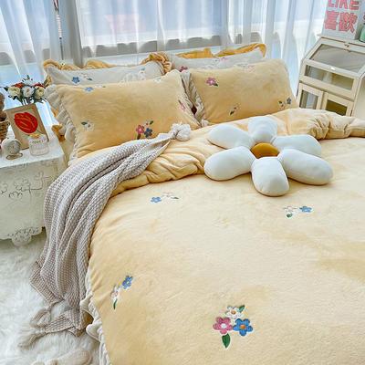2021新款泰迪绒系列四件套-小花花 1.5m床单款四件套 米黄