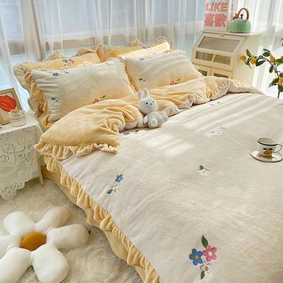 2021新款泰迪绒系列四件套-小花花 1.5m床单款四件套 奶白