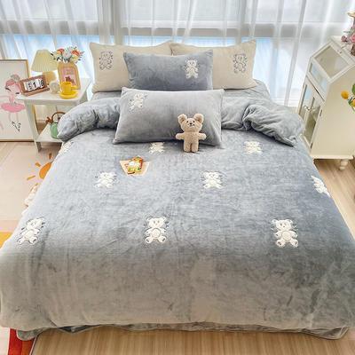 2021新款泰迪绒系列四件套-饼干熊 1.2m床单款三件套 饼干熊灰色