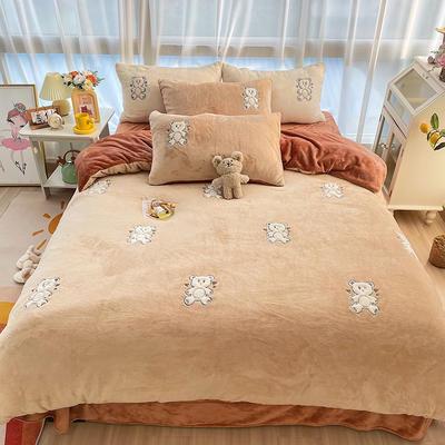 2021新款泰迪绒系列四件套-饼干熊 1.5m床单款四件套 饼干熊--卡其