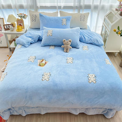 2021新款泰迪绒系列四件套-饼干熊 1.2m床单款三件套 饼干熊--蓝色