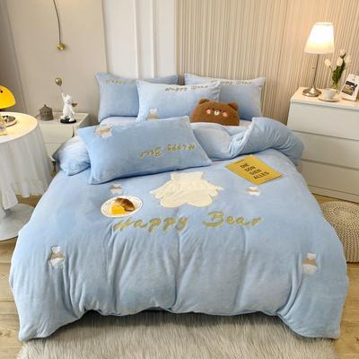 2021新款泰迪绒系列四件套-贝贝熊场景2 1.5m床单款四件套 蓝色
