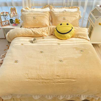 2021新款泰迪绒系列四件套-小太阳 1.2m床单款三件套 小太阳--米黄