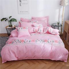 加厚六件套斜纹亲肤磨毛秋冬季被套床单床品床上四件套6件套 1.2m(4英尺)床六件套 爱如花开