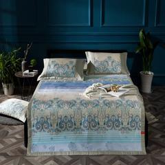凉席系列 可水洗床席系列 150*198CM(三件套) 巴洛克-蓝