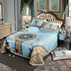 凉席系列 可水洗床单系列 250*250cm(三件套) 倾心兰蔻-蓝