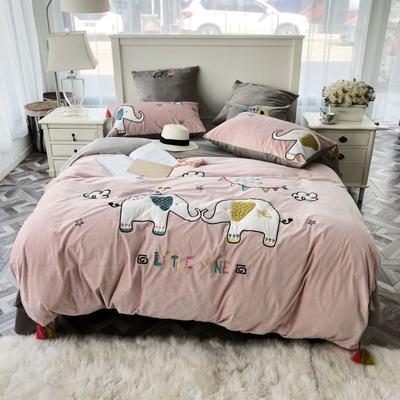 2018新款贴布绣绣花四件套 1.2m(4英尺)床 萌小象-粉色