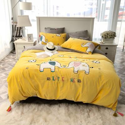 2018新款贴布绣绣花四件套 1.2m(4英尺)床 萌小象-黄色