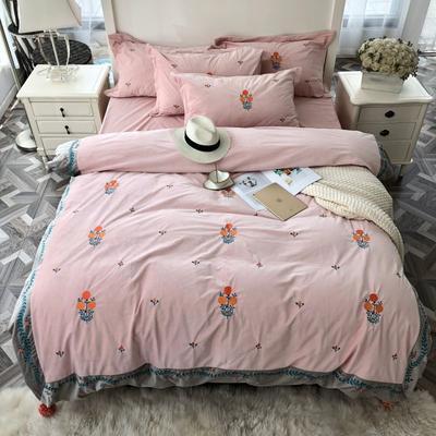 2018新款贴布绣绣花四件套 1.5m(5英尺)床 璎珞-粉色
