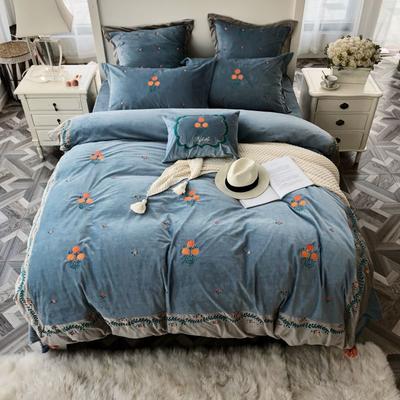 2018新款贴布绣绣花四件套 1.5m(5英尺)床 璎珞-蓝色