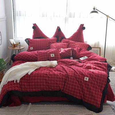 爱丽家纺 全棉色织水洗棉四件套 1.5m-1.8m床 布鲁斯-红